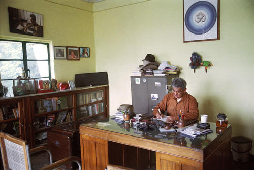 Rajah Banerjee, the owner of the Makaibari Tea Estate at his office in Kurseong, West Bengal.