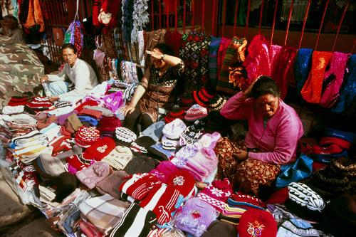 Local women selling their wares in Darjeeling, West Bengal.