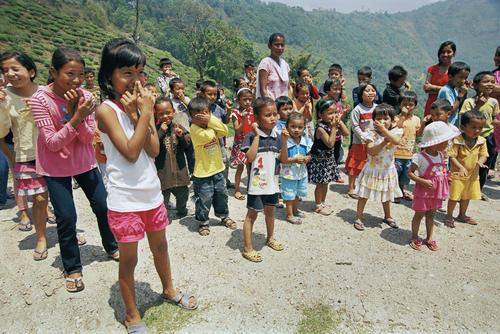 Children playing at the Makaibari Tea Estate at Kurseong, West Bengal.