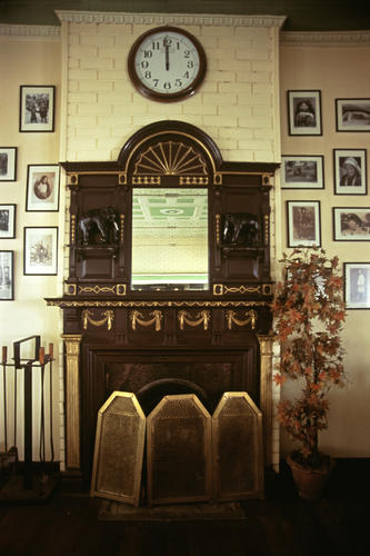 The antique mantelpiece at Glenary's restaurant on the Mall, Darjeeling, West Bengal.