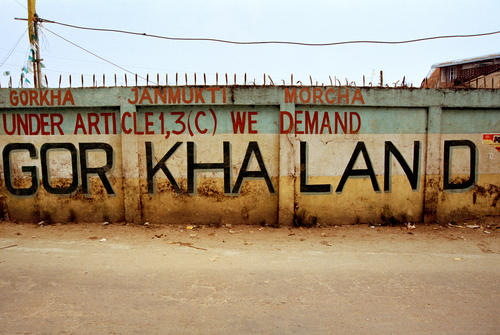 """A sign protesting the Darjeeling Hills' right to a separate State-called """"Gorkhaland""""- on a road in Darjeeling, West Bengal."""
