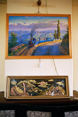 A picture of the Darjeeling Toy railway hanging in the Gymkhana Club, Darjeeling, West Bengal.