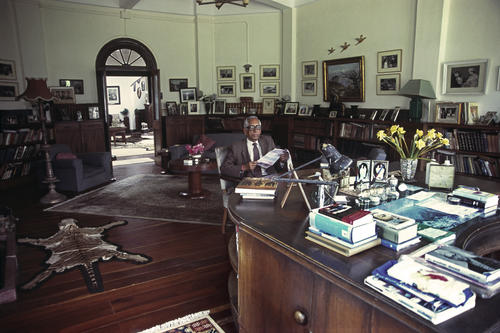 The Maharaja of Burdwan sitting in his Palace residence, Darjeeling, West Bengal.
