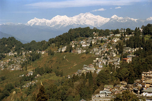 Overview of the Kanchenjunga mountain that dominates the sky line in Darjeeling.