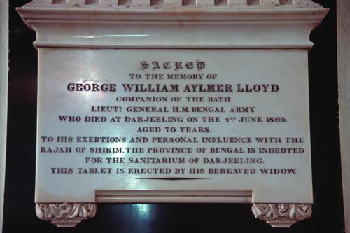 Plaque inside St. Andrew's Church, Darjeeling.