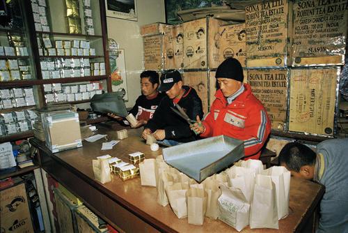 Interior of Nathmulls tea shop in Darjeeling.