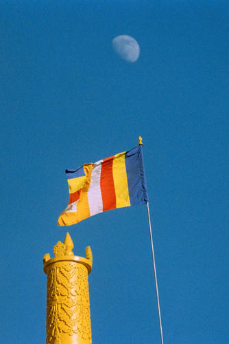 The moon rising over a turret at the Dali Gompa just one of many monasteries close to Darjeeling in West Bengal.