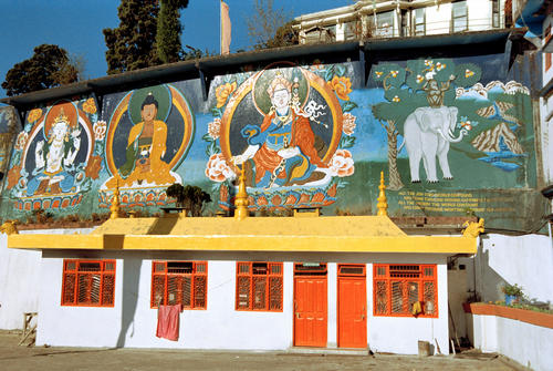 Colourful murals on an outhouse at the Dali Gompa just one of many monasteries close to Darjeeling in West Bengal.