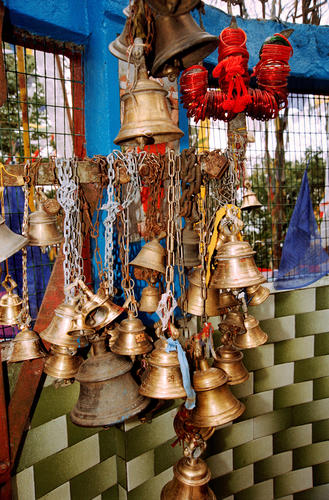 Ancient Buddhist bells at the Observatory Hill, Darjeeling, West Bengal.