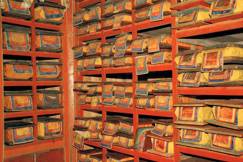 Ancient Buddhist scrolls in a temple library in Darjeeling , West Bengal.