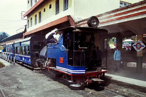 The Darjeeling Himalayan Railway (also known as the DHR or 'Toy Train'), at Darjeeling Station.