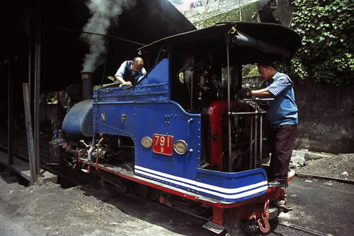 Maintenance on the Darjeeling Himalayan Railway (also known as the DHR or 'Toy Train') Darjeeling, West Bengal.