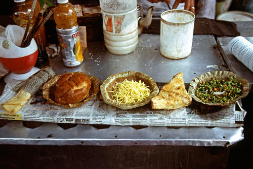 Traditional local fare for sale on a stall in Chowrasta, Darjeeling, West Bengal.