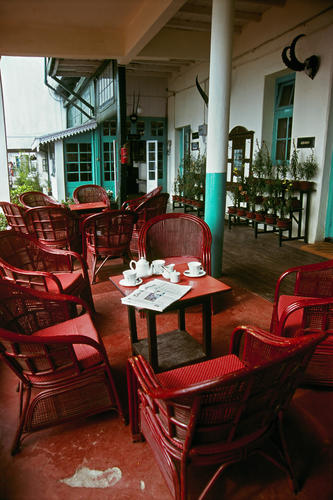 The garden/patio at the Planters Club in Darjeeling, West Bengal.
