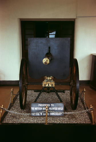 An antique cannon presented to the Planters Club in Darjeeling, West Bengal.