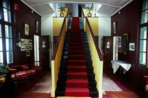 Staircase in the Windamere Hotel, Darjeeling, West Bengal.