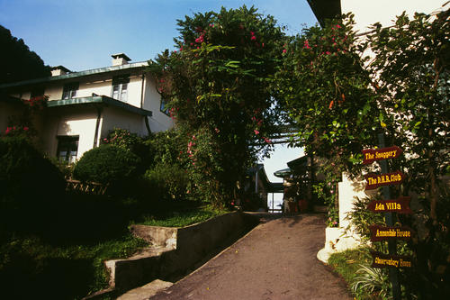 The entrance at the Windamere Hotel, Darjeeling, West Bengal.