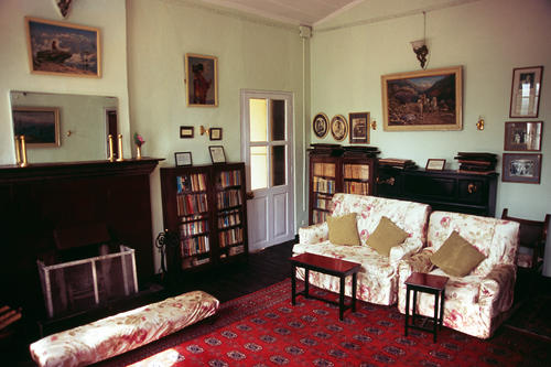 The Piano room in the Windamere Hotel, Darjeeling, West Bengal.