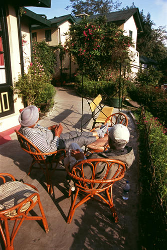 A patio at the Windamere Hotel, Darjeeling, West Bengal.