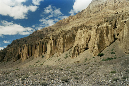 Wind eroded rock formations, Spiti Valley, Himachal Pradesh.