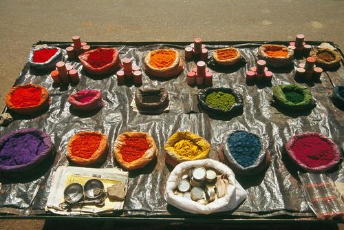 Holy 'rangoli' powders, used for decoration, on sale in Hampi, Karnatica.
