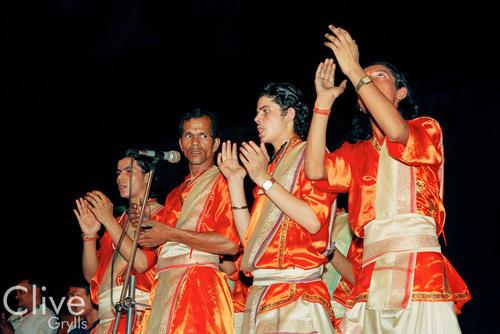 Devotees performing at the 'Ganga Seva Midhi' festival held on the Dashashwamed ghat. Varanasi, Uttar Pradesh.