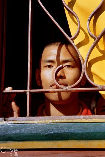 Young monk at the Samten Choling Gompa. Ghoom, near Darjeeling, West Bengal.