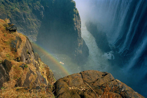 Aerial view of the Victoria Falls, on the Zambian/Zimbabwe border.