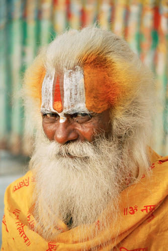 Portrait of a Hindu sage in Varanasi, Uttar Pradesh, India
