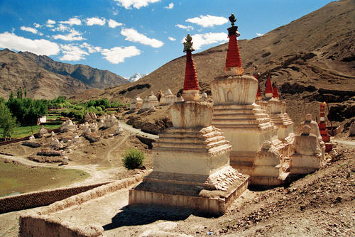 Chortens or stupas adorn the entrances and surroundings of most Ladakhi temples.