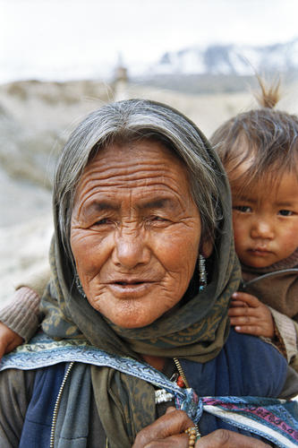 Lady and child at Korzok, Ladakh.