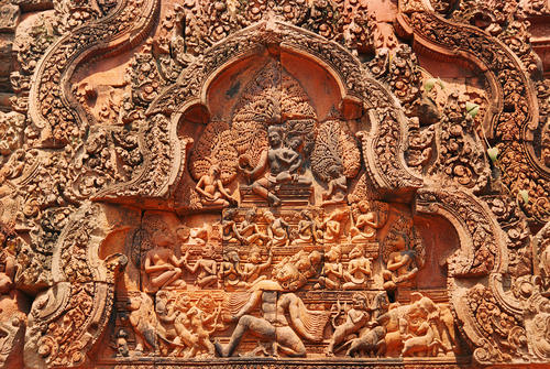 Banteay Srei, a 10th-century Cambodian temple built largely of red sandstone and dedicated to the Hindu god Shiva., Siem Reap, Cambodia.