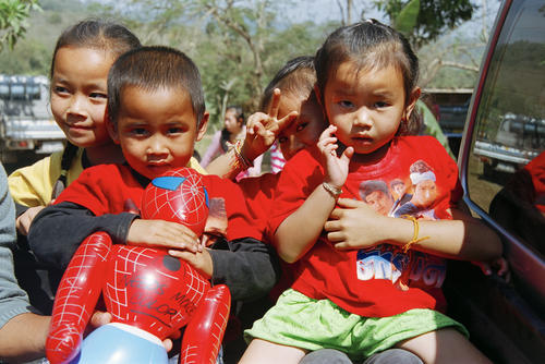 Children at the annual Elephant Festival, Sayaboury Province, Laos.