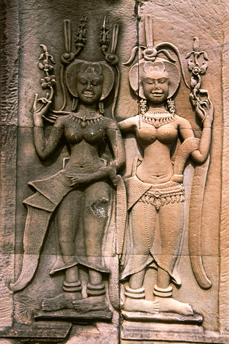 Bas Reliefs at the Angkor Wat temple complex, Siem Reap, Cambodia.