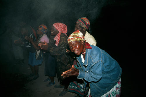 Local people dancing in the Caprivi Strip, Namibia.