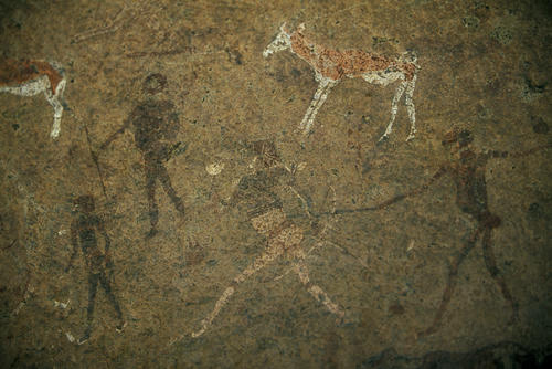 Rock engravings in a cave at Twyfelfontien in the Kumeme region of Namibia.