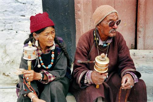 Locals at the Lamayuru temple, Ladakh.