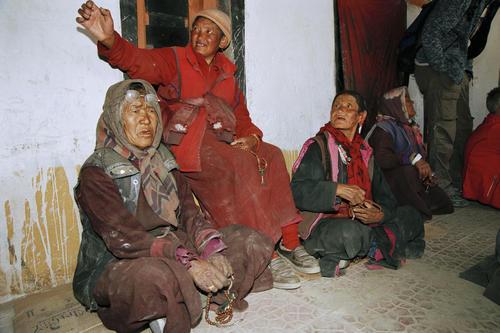 Locals at the Korzok Gompa, Ladakh.