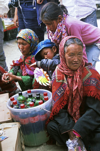 Local ladies and children at a drinks stall in Korzok, Ladakh.