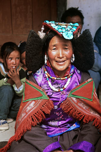 Local lady wearing a traditional 'Perak' hat at Korzok, Ladakh.