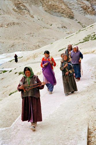 Local ladies walking in Korzok, Ladakh.