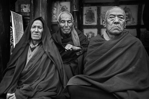 Monks at the Hemis Gompa, Ladakh.
