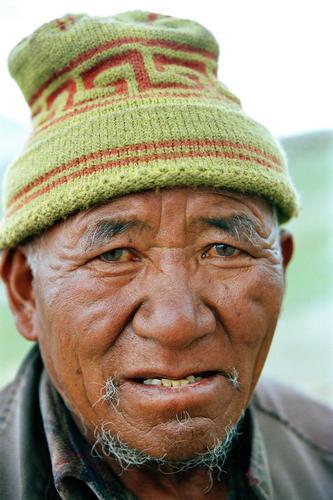 Old man at Pangong Lake, Ladakh.