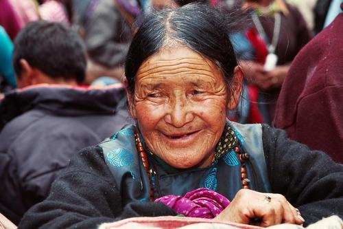Old lady at the Hemis temple, Ladakh.