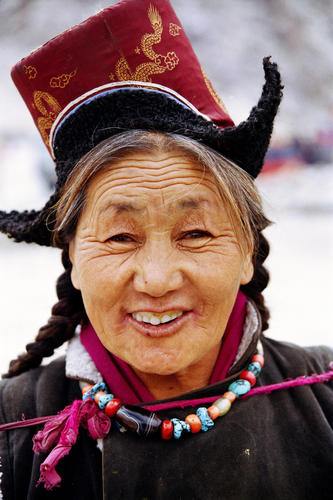 Old lady at the Hemis Gompa, Ladakh.