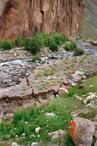 Ochre cliffs, fast moving streams and richly irrigated croplands near the village of Gya, Ladakh.