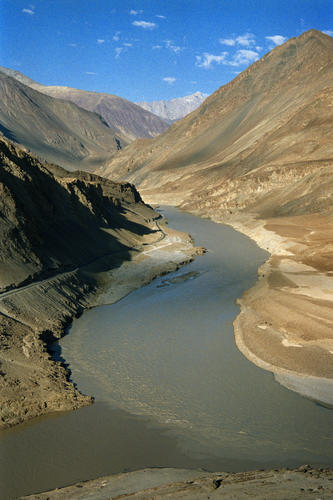 The confluence of the Indus and Zanskar rivers, Ladakh.