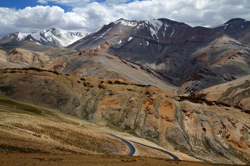 Twisting roads with many switch backs permeate the mostly uninhabited terrain of the Ladakhi region.