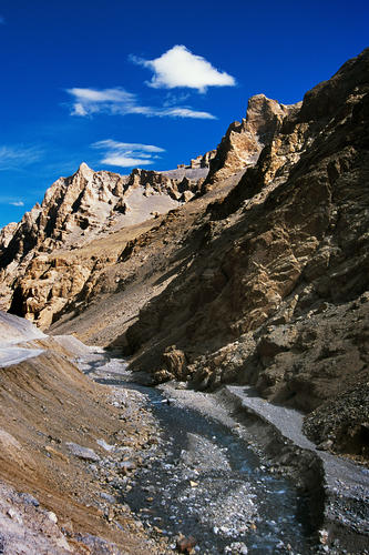 Azure blue streams and skies so typical of the Ladakhi landscape.