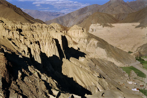 Rows of huge wind-eroded spires dominate the Ladakhi landscape.